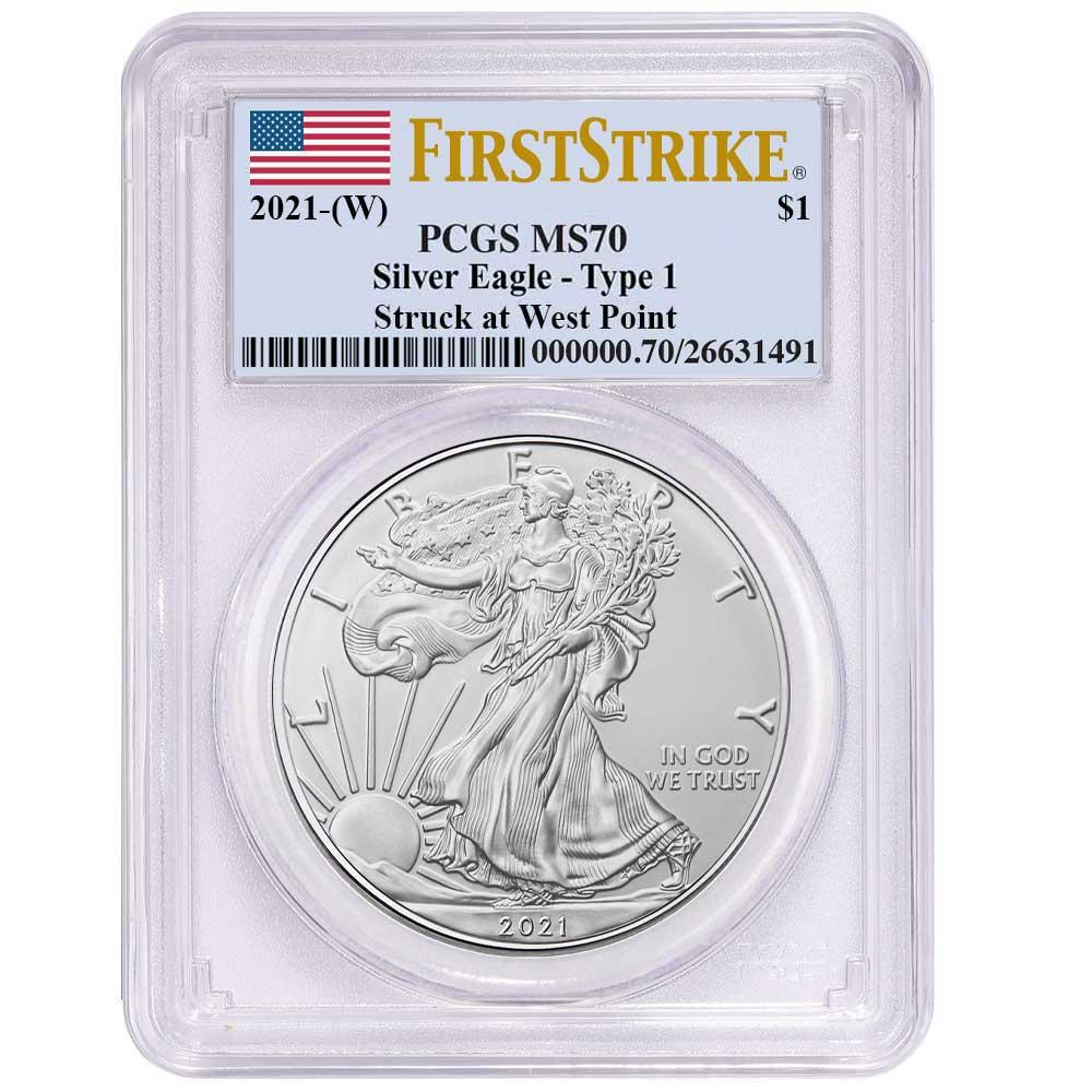 2021 $1 American Silver Eagle PCGS MS70 FS West Point Frame W Presale