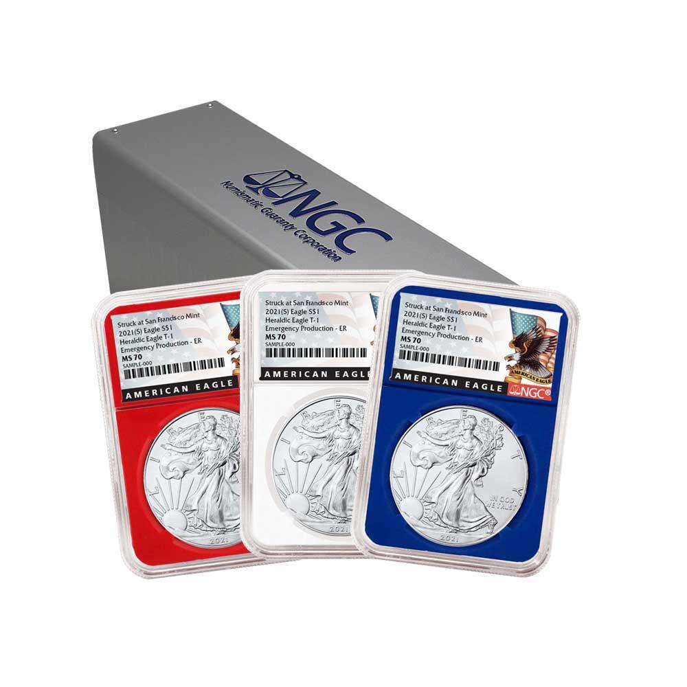 W $1 American Silver Eagle 3 pc 2020 Set NGC MS70 FDI First Label Red White B