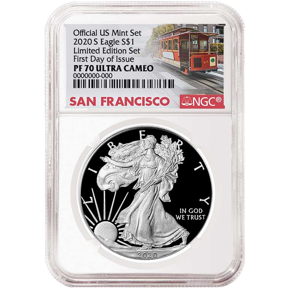 $1 American Silver Eagle NGC MS70 Emergency Production Trump FDI Label S 2020