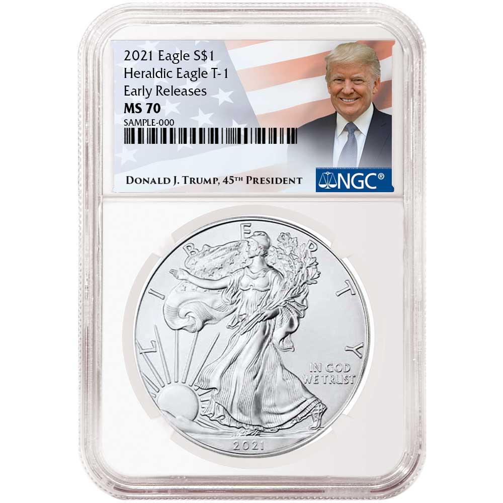 Presale 2021 $1 American Silver Eagle NGC MS69 FDI Trump Label Red Core