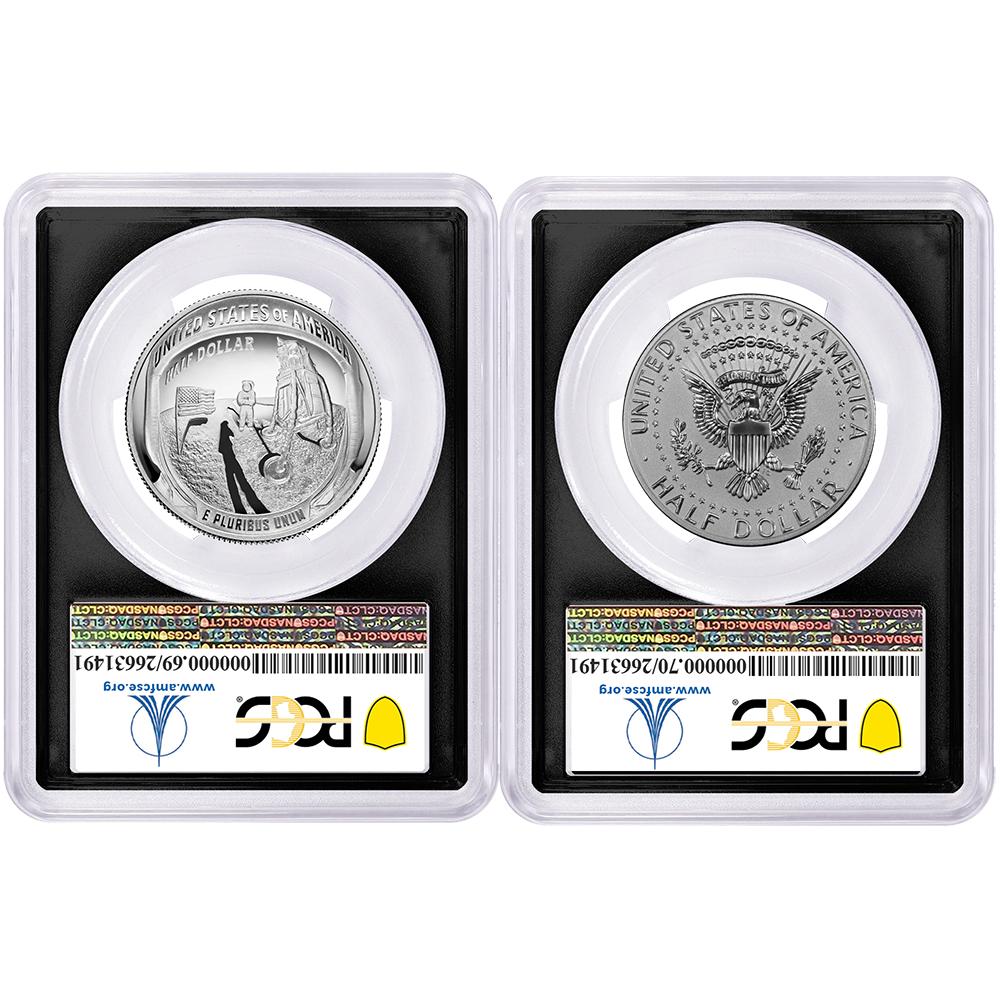 Half Dollar 2pc 2019-S 50c Apollo 11 50th Ann Set PCGS PR70 FDOI AMF Label