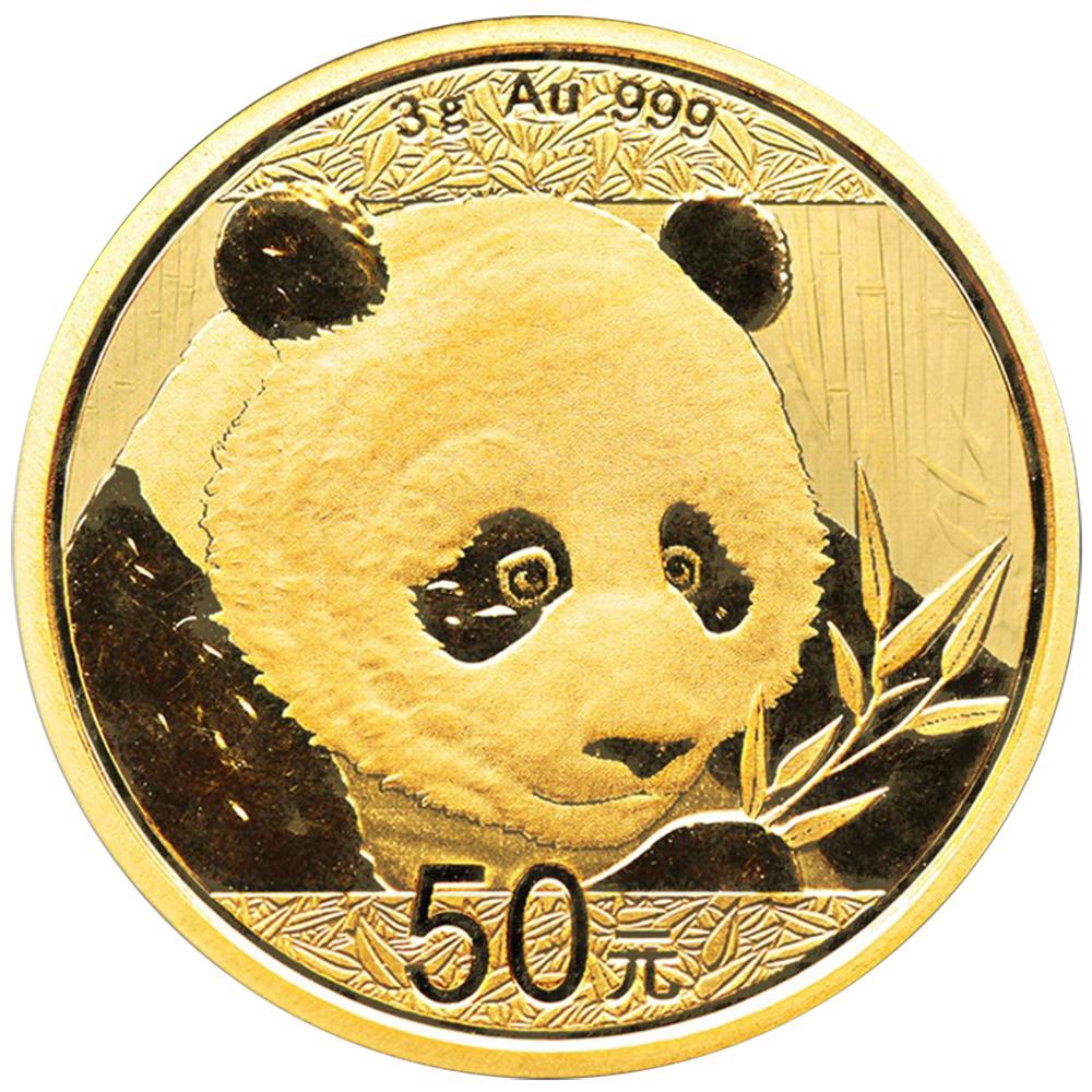 2018 50 Yuan Gold Chinese Panda 999 3g Brilliant