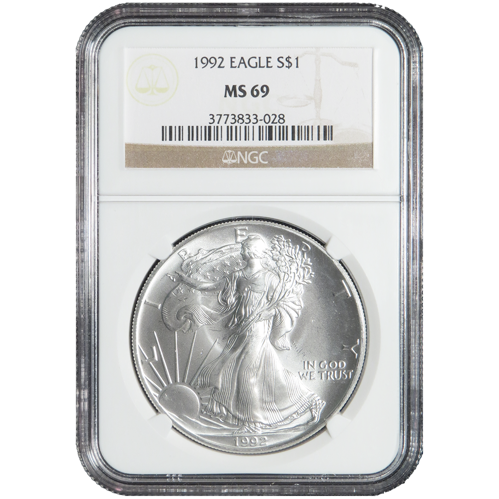 2019 AMERICAN SILVER EAGLE NGC MS69 CLASSIC BROWN LABEL AS SHOWN PREMIUM QUALITY