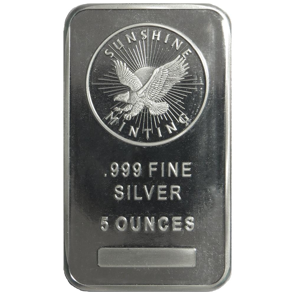5 oz Sunshine Silver Bar New, MintMark SI, Lot of 2