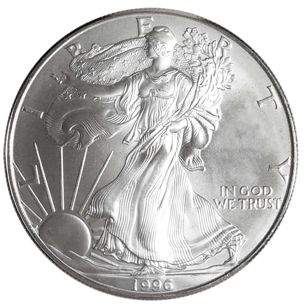 1996 1 OZ AMERICAN SILVER EAGLE BRILLIANT UNCIRCULATED SKU #1390