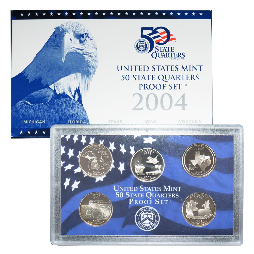 Mint clad proof coin set w// State Quarters  box and COA 2004 U.S