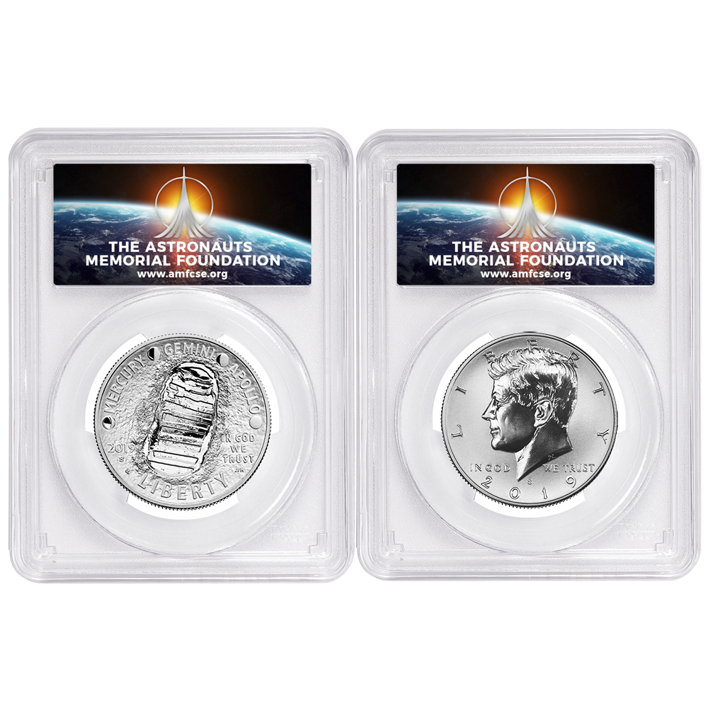 Half Dollar 2pc 2019-S 50c Apollo 11 50th Ann Set PCGS PR70 FDOI AMF Label