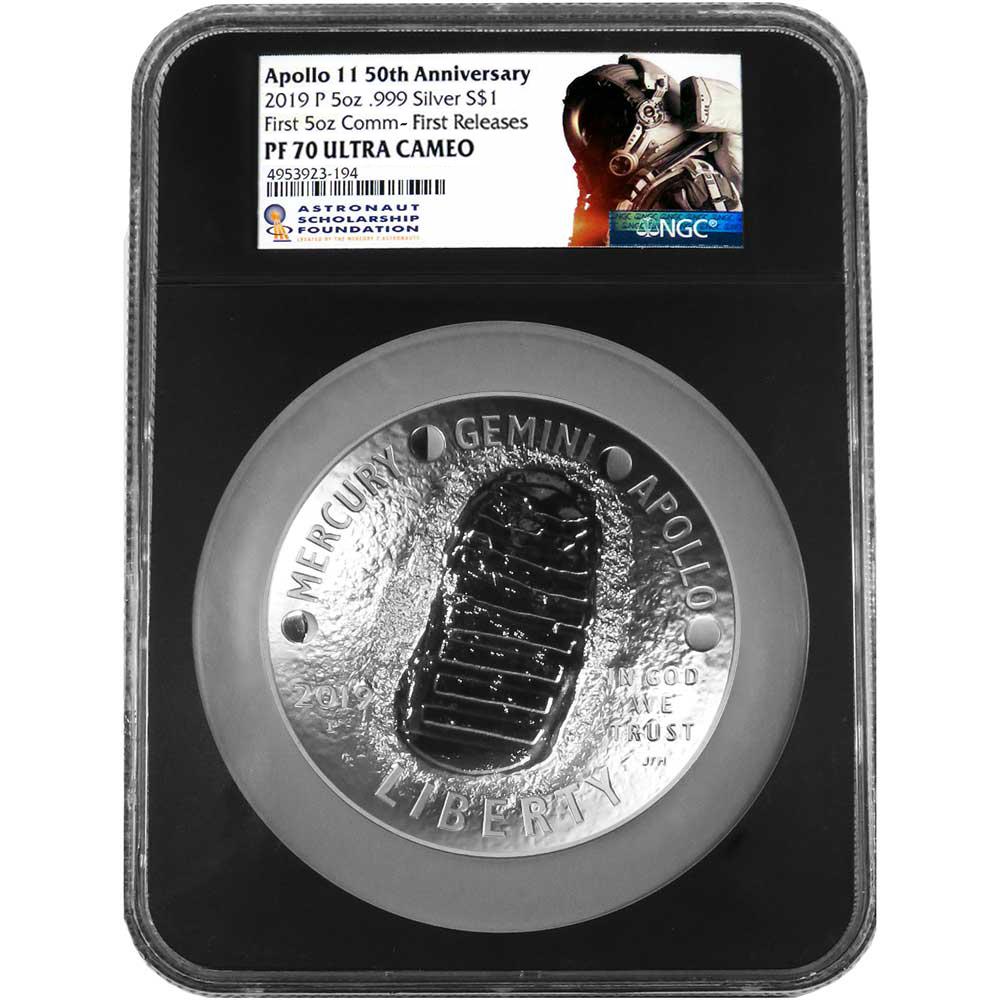 2019-P Proof $1 Apollo 11 50th Ann Silver Dollar NGC PF70 UC Blue ER Label