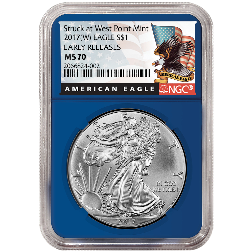 Blue Core Eagle Label NGC MS70 2017 American Silver Eagle Early Releases