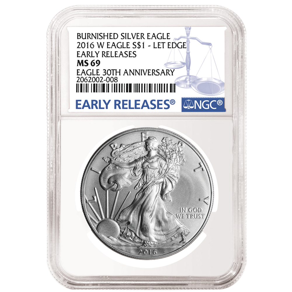 2016-W Burnished $1 American Silver Eagle NGC MS69 Early Releases Black ER Label