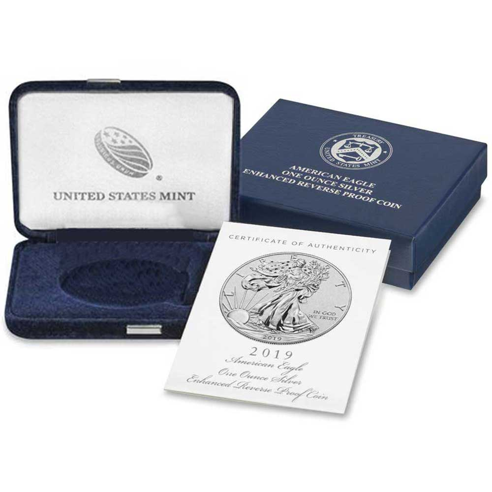 OEM Box NO COIN 2019-S 1 oz Enhanced Reverse Proof Silver American Eagle