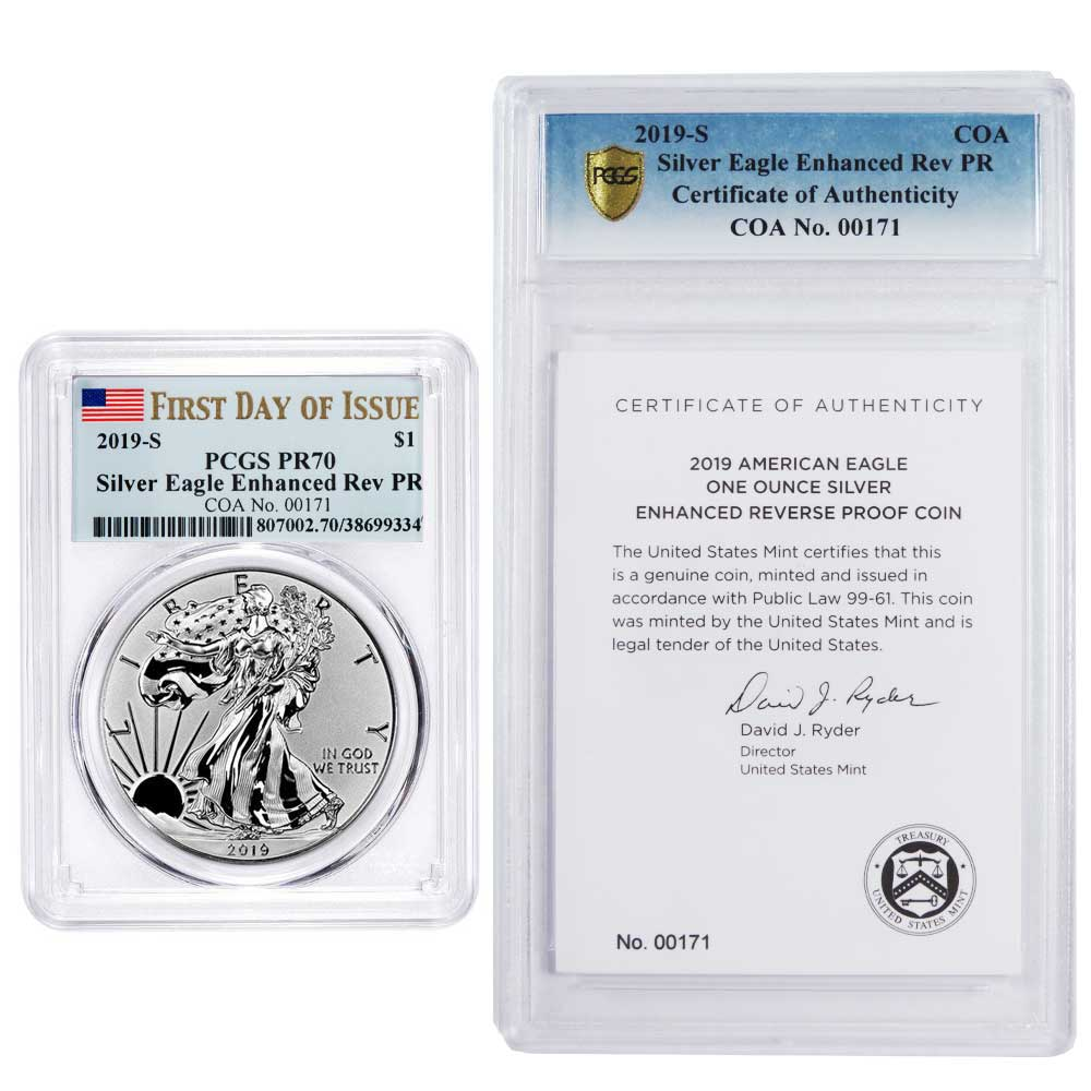 2019-W Proof Silver Eagle Complete with Original Government Packaging /& COA