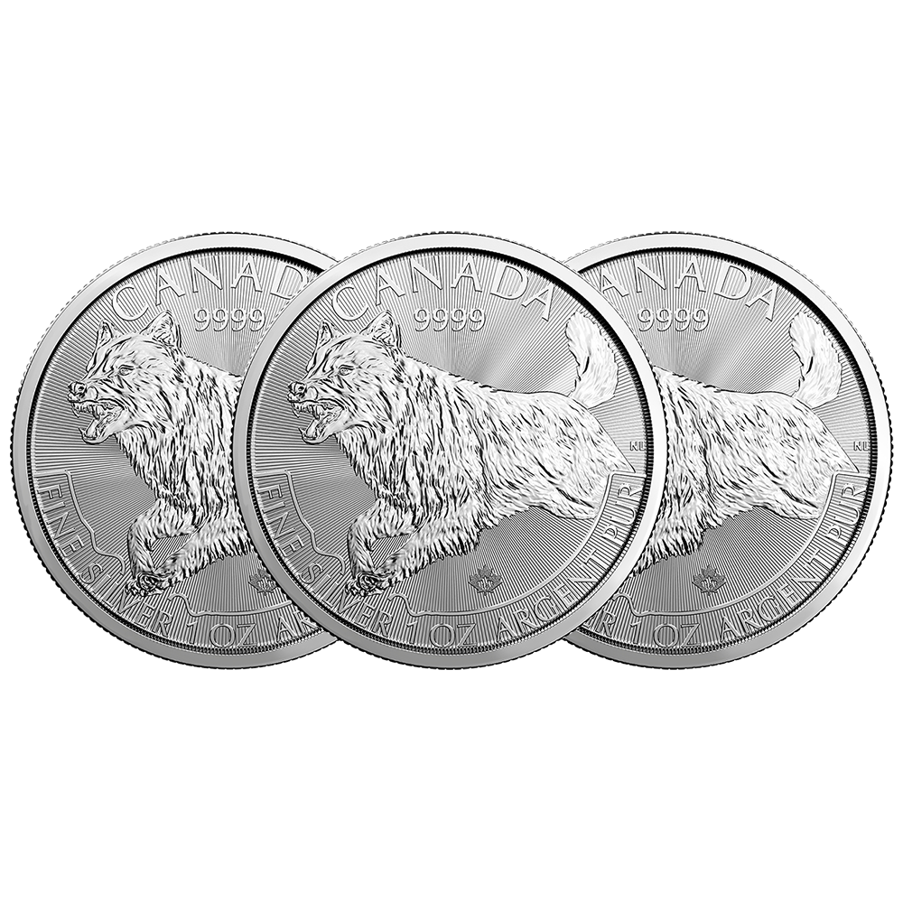 Lot of 2-2018 $5 1oz Silver Canadian Wolf .9999 BU